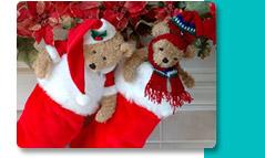 Teddy Bears in Red Stockings